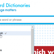 Selecting British & World English on the Oxford Dictionaries site.