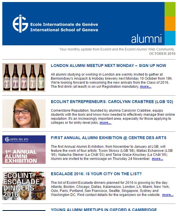 Screenshot of the Ecolint Alumni e-newsletter from October 2016