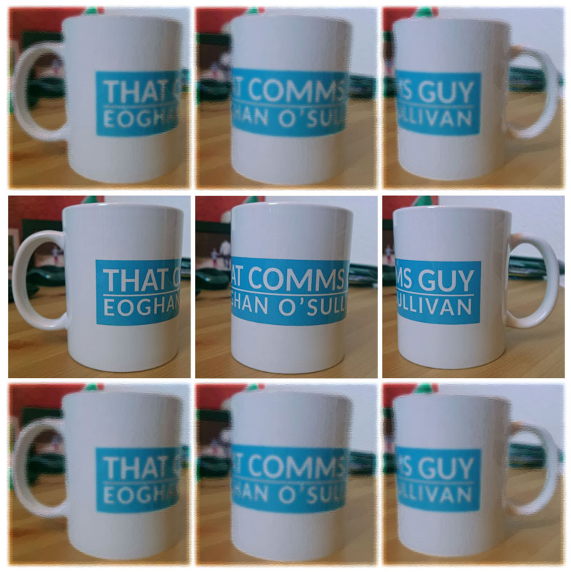 Montage of photos showing a mug with the THAT COMMS GUY logo.