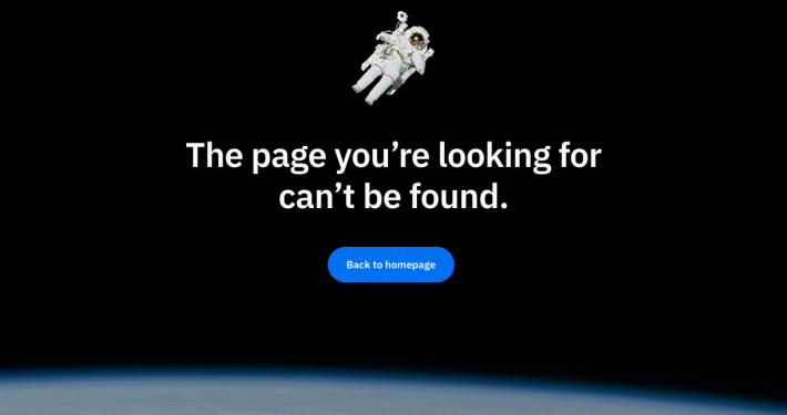 Screenshot of a 404 page with Twentig