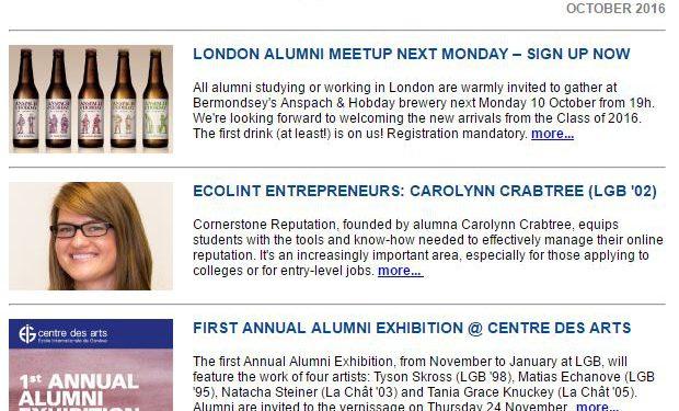 Screenshot of the Ecolint Alumni e-newsletter from October 2016